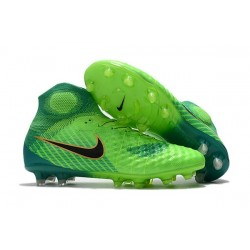 Nike Magista Obra 2 FG High Top Soccer Boots Green Blue