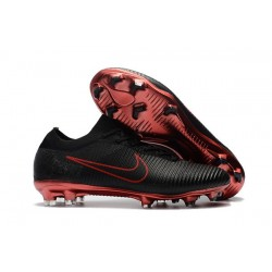 Nike Mercurial Vapor Flyknit Ultra FG Football Cleats - Black Red