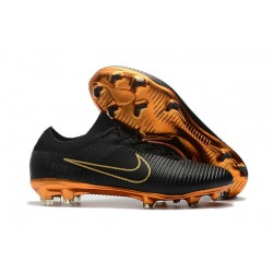 Nike Mercurial Vapor Flyknit Ultra FG Football Cleats - Black Gold