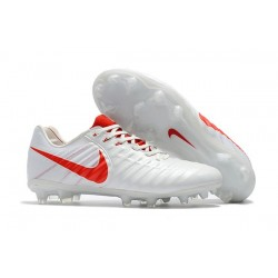 Nike Tiempo Legend VII FG Kangaroo Leather Shoes - White Red