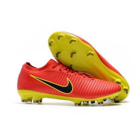 Nike Mercurial Vapor Flyknit Ultra FG Football Cleats - Red Yellow