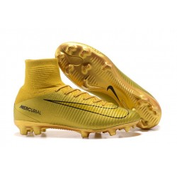 Nike High Top Mercurial Superfly V FG Soccer Cleat - CR7 Golden