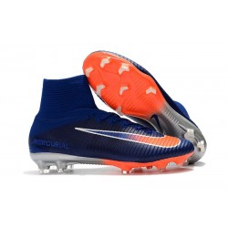 Nike High Top Mercurial Superfly V FG Soccer Cleat - Blue Orange