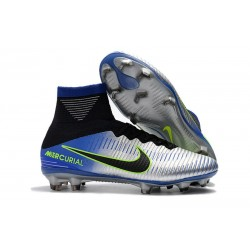 Nike High Top Mercurial Superfly V FG Soccer Cleat - Neymar Chrome Blue