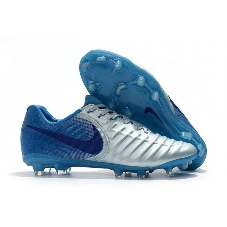 Nike Tiempo Legend VII Elite FG Mens Cleats - Silver Blue
