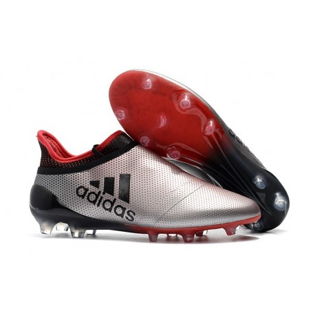 New adidas X 17+ Purespeed FG Soccer Cleats Silver Red Black
