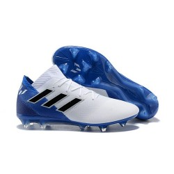 adidas Nemeziz Messi 18.1 FG Soccer Cleats - White Blue