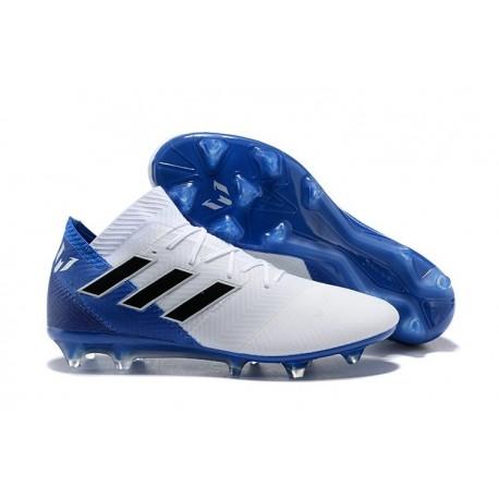 adidas Nemeziz Messi 18.1 FG Soccer Cleats - White Blue
