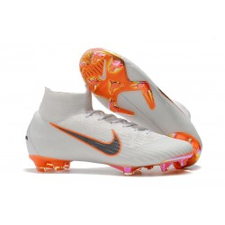 New 2018 Nike Mercurial Superfly VI Elite FG Soccer Cleats - White Grey Orange