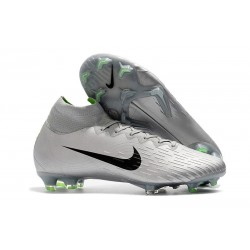 New 2018 Nike Mercurial Superfly VI Elite FG Soccer Cleats - Silver Black