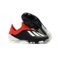 adidas X 18.1 FG New Soccer Cleats - Black Red White