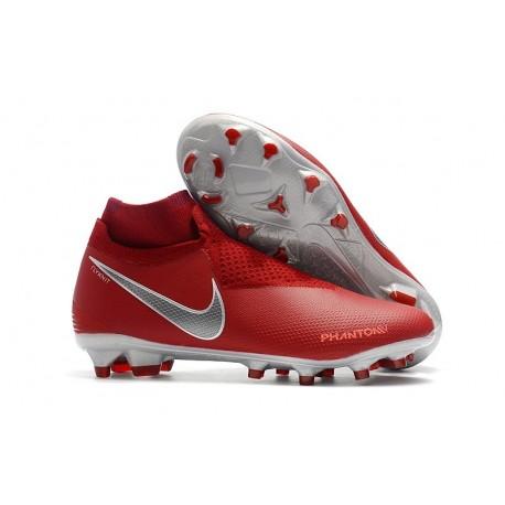 Nike Phantom Vision Elite DF FG Men's Soccer Boots - Crimson Silver