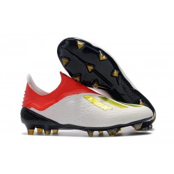 adidas X 18+ FG Mens Football Boots - White Red Golden