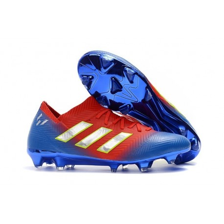 adidas Nemeziz Messi 18.1 FG Soccer Cleats - Red Blue Silver