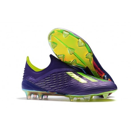 New adidas X 18+ FG Soccer Cleat - Purple Green