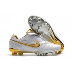 Nike Tiempo Legend 7 R10 Elite FG Firm Ground New Boots - White Gold