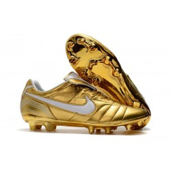 Nike Tiempo Legend 7 R10 Elite FG Firm Ground New Boots - Gold White