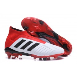 adidas Predator 18+ FG Mens Soccer Boots - White Red Black