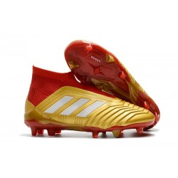 New adidas Predator 18+ FG Soccer Cleats - Golden Red