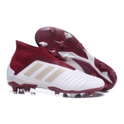 New adidas Predator 18+ FG Soccer Cleats - White Red
