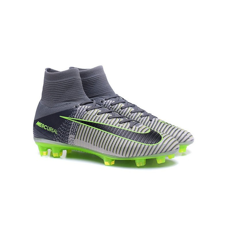 d53a819f3 ... low price new 2016 nike mercurial superfly v fg speed soccer cleats  grey black green 2ce18