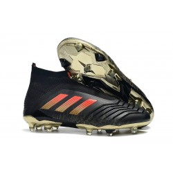 adidas Predator 18+ FG Firm Ground Boot - Black Red Golden