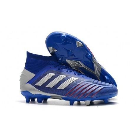 adidas New Predator 19.1 FG Mens Soccer Boots - Blue Silver