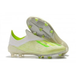 New adidas X 18+ FG Soccer Cleat - White Green