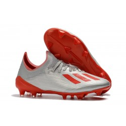 New Soccer Shoes adidas X 19.1 FG Metalic Silver Red