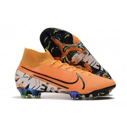 New Nike Mercurial Superfly 7 Elite FG Cleats - Orange Black White