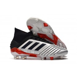 adidas New Predator 19.1 FG Mens Soccer Boots - Silver Black Red