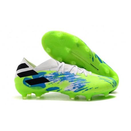 adidas Nemeziz 19.1 FG Firm Ground Cleats White Green Blue